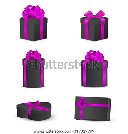 Set of black gift boxes with pink bows and ribbons. Vector EPS10 illustration. - stock vector