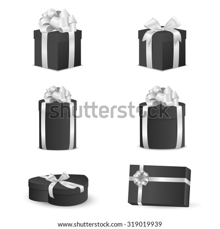 Set of black gift boxes with white bows and ribbons.  Vector EPS10 illustration. - stock vector