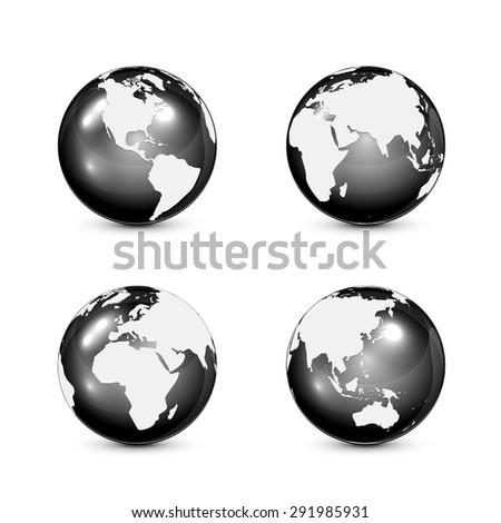 Set of black globes isolated on white background, illustration. - stock vector