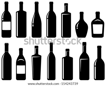 set of black glossy wine bottles with highlight - stock vector