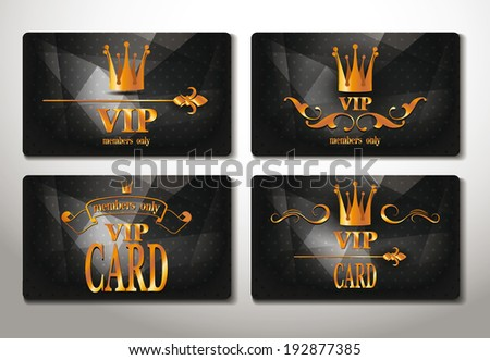 Set of black gold vip cards with abstract background - stock vector