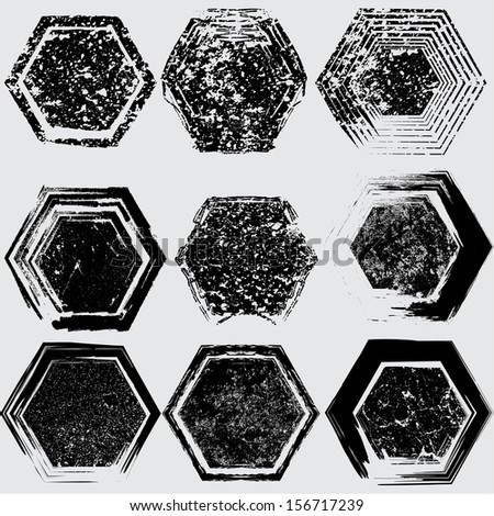 Set of black grunge shapes  - stock vector