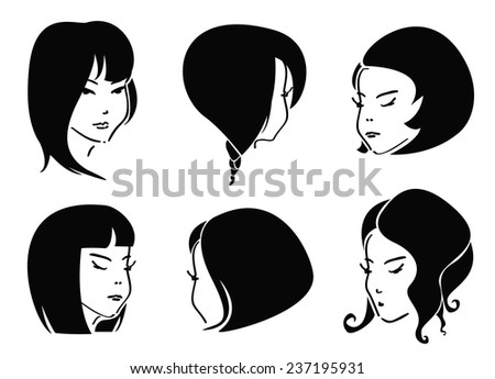 Set of Black Hair Styles - stock vector
