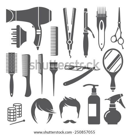 Set of black hairdressing equipment symbols isolated on white background - stock vector