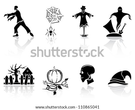 Set of black Halloween icons on white background, illustration - stock vector