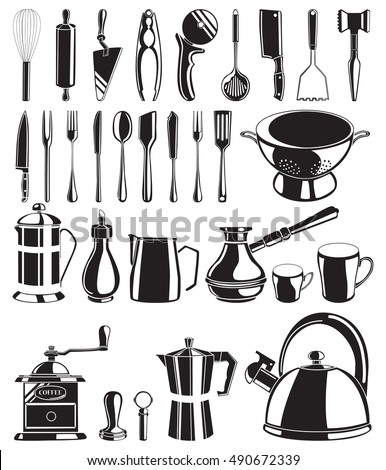 Set of black hand drawn kitchen tools on white background vector illustration