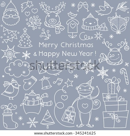 Set of Black Hand Sketched Christmas Doodle Icons, Shapes, Symbols. Xmas Vector Illustration. Text Lettering. Celebration Party Design Elements, Cartoons, children staff. - stock vector
