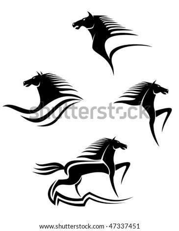 Set of black horses symbols for design isolated on white, such as emblem or logo template