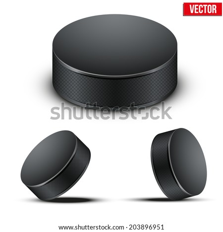 Set of Black Ice Hockey pucks. Vector Illustration. Isolated on white background. - stock vector