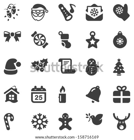 set of black icons for christmas, isolated - stock vector