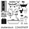 Set of black icons of bathroom. vector - stock vector