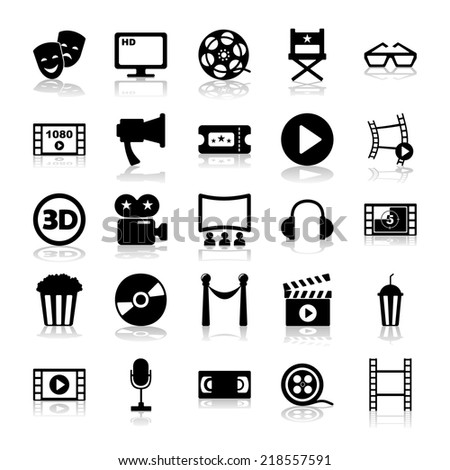 Set of black icons on white background of movie and cinema - stock vector