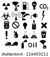 set of black icons: pollution, industrial, hazardous - stock vector