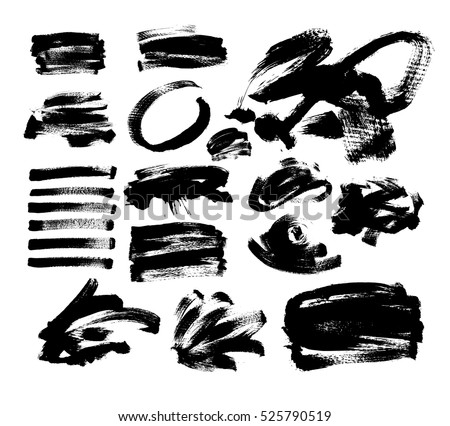 set of 20 black ink hand drawing brushes collection isolated on white background for your design, brush strokes element vector illustration