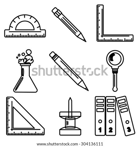 Set of black ink icons with stationery and school goods. Can be used for back to school design and stationery stores. Modern vector illustration for web stores or mobile apps. Part 3. - stock vector