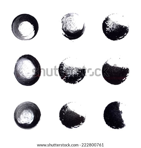 Set of black ink vector circle stamps  - stock vector