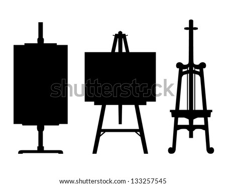 Set of black isolated contour easels silhouettes. Icon collections of artistic instruments, props - stock vector
