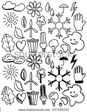 Set of black isolated environmental hand drawn doodles - stock vector
