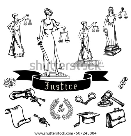 Set Black Justice Law Symbols On Stock Vector 607245884 Shutterstock