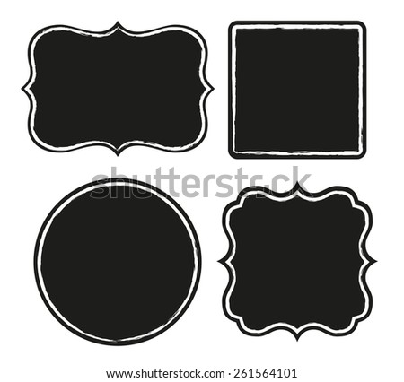 Set of black labels with rough border - stock vector