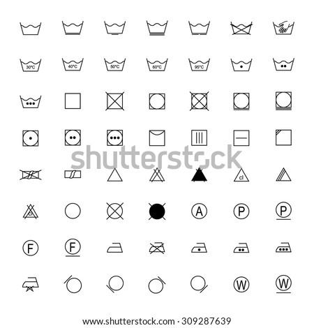 Set of black laundry symbols on white background, vector illustration - stock vector