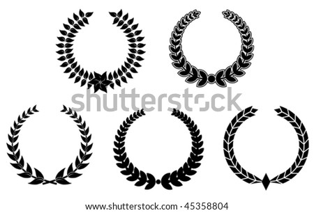 Set of black laurel wreaths for design. Jpeg version is also available - stock vector