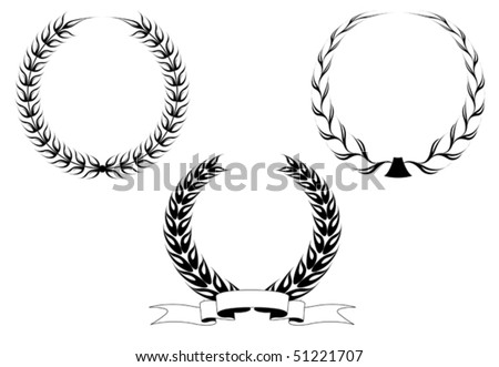 Set of black laurel wreaths isolated on white. Jpeg version also available in gallery - stock vector