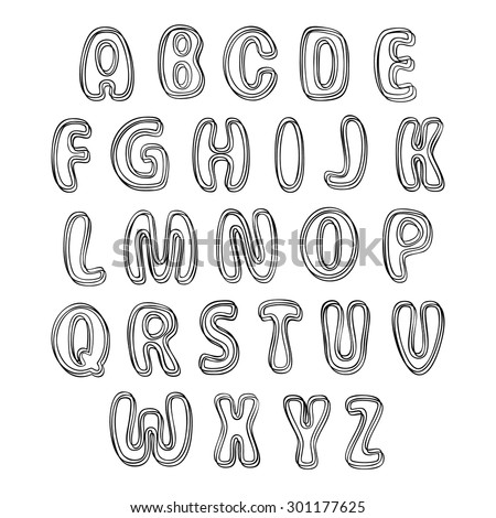 Set of black letters. Alphabet for your Design