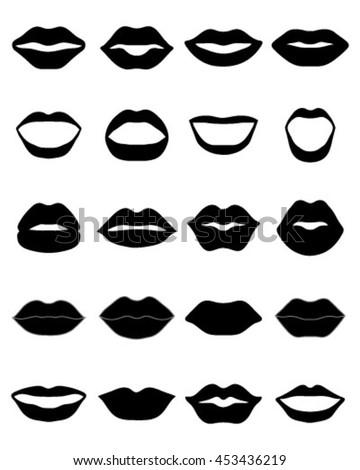 Lips Vector Black Set Lips Icon Stock Ve...