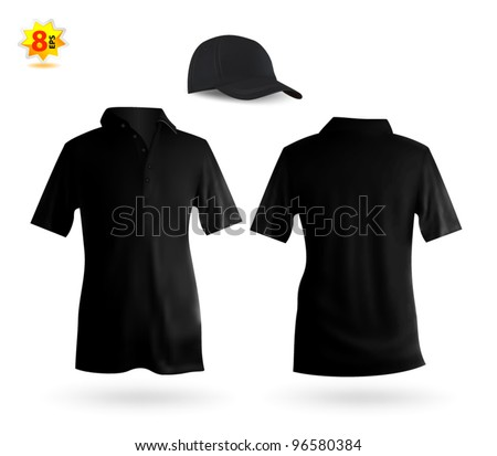 Set of black male polo and a baseball cap template. - stock vector