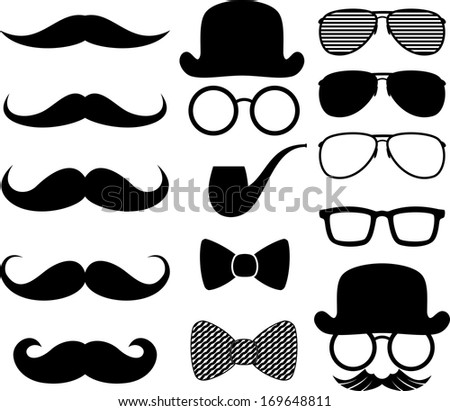 set of black moustaches silhouettes and design elements isolated on white background - stock vector