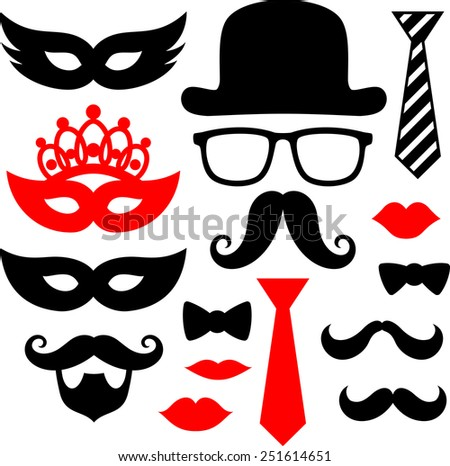 set of black mustaches, lips and silhouettes design elements for party props isolated on white background - stock vector