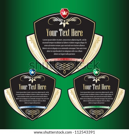 Set of black ornate labels. Grouped for easy editing. Perfect for labels or stickers for wine, beer, champagne, cognac, cologne and etc. - stock vector