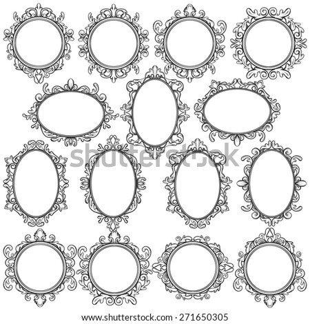 set of black oval and round vintage frames, design elements - stock vector