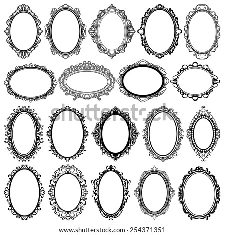set of black oval vintage frames, design elements - stock vector