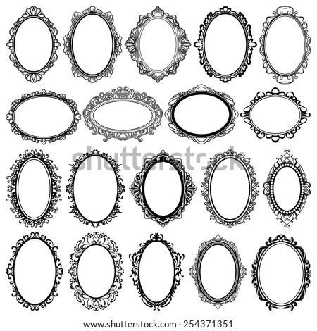Set Of Black Oval Vintage Frames Design Elements