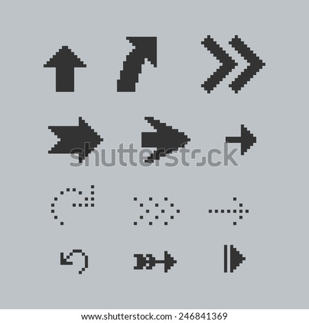Set of black pixel arrows - stock vector