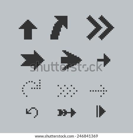 Set of black pixel arrows - stock vector