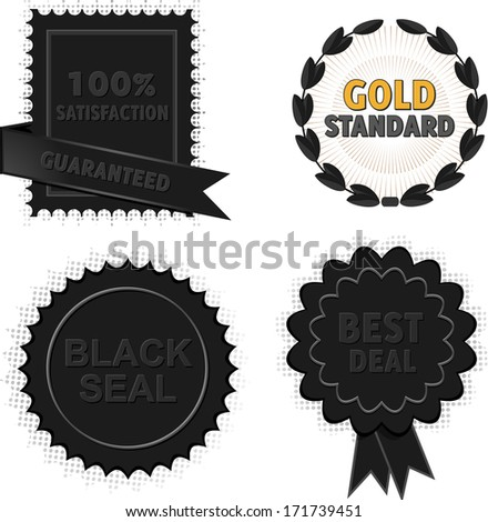 Set of Black Quality Badges and Seals  - stock vector
