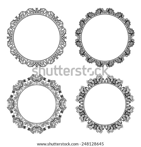 Set of black round and circular decorative frames for design frameworks and banners. Vintage style - stock vector