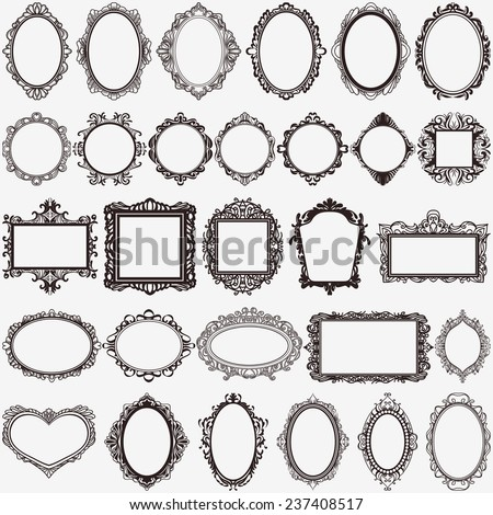 antique picture frames vector. Set Black Round Square Vintage Frames Stock Vector 237408517 - Shutterstock Antique Picture