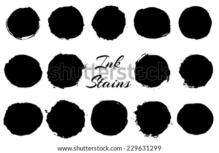 Set of black round ink stains. Vector eps10. - stock vector