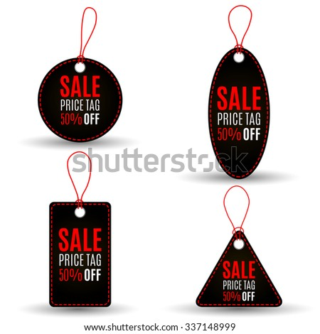 Set of black sale tags with red stitch and string on white background. Circle, triangular, square forms. Idea for promoion, web design. Vector illustration - stock vector