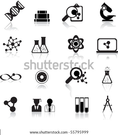 set of black scientofic silhouette icons with reflection - stock vector