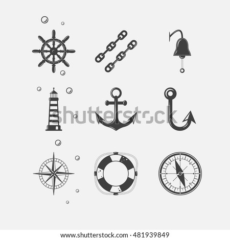 Set of black sea theme icons of ship navigation related objects.