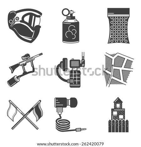 Set of black silhouette flat icons for paintball equipment and outfit on white background. - stock vector