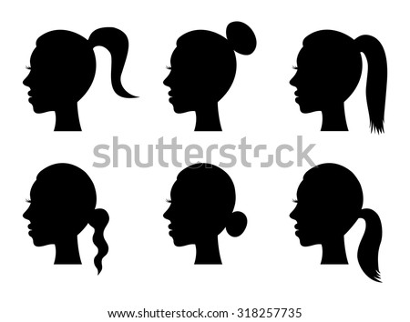 Set of black silhouette girl head with different hairstyle: tail, ponytail, bun. Young women face in profile with long hair, cartoon design. vector art image illustration, isolated on white background - stock vector