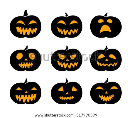 Set of black silhouette pumpkins for Halloween