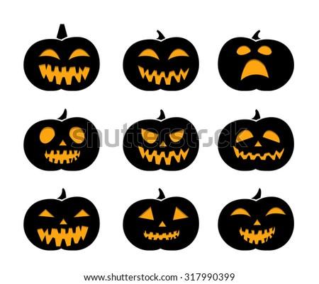 Set of black silhouette pumpkins for Halloween - stock vector