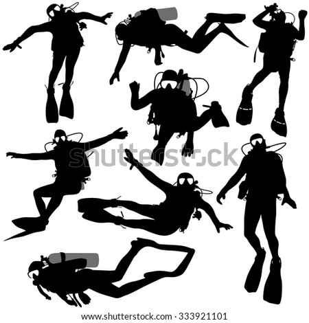 Set of black silhouette scuba divers. Vector illustration. - stock vector